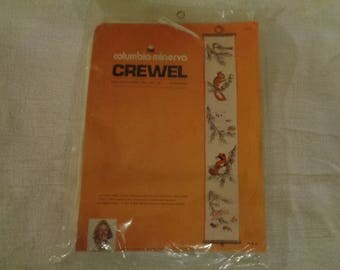 Vintage 1974 Columbia Minerva Crewel Woodland Pine Bell Pull needle work kit
