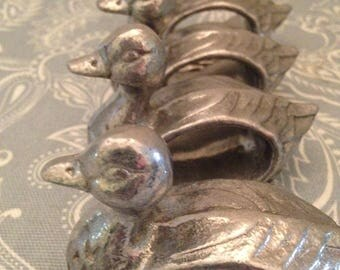Armetale Metal Set of Four Duck Napkin Rings