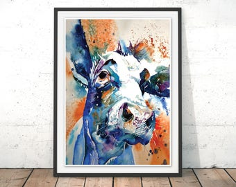 Cow Art Print, Blue Cow Painting, Cow Watercolour, Farm Cattle Framed Print, Cow Illustration by Liz Chaderton
