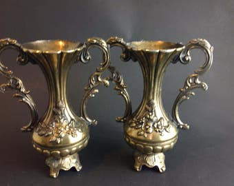 Ornate Matching Pair of Brass Bud Vases Urns Candle Holders  Italy Ornate Flower Design Beautiful Handles Mid Century Italian Design Baroque