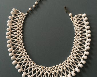 Vintage Art Deco Necklace Bib Style Glass & Seed White Beads