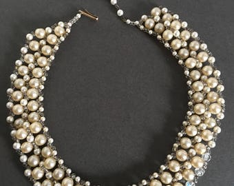 Vintage Faux Pearl and Seed Bead Collar Bib Necklace