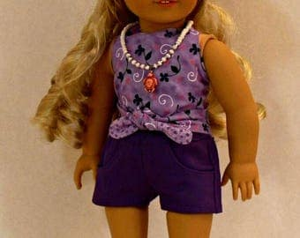 Reversible Halter Top, jean shorts, Hat and Necklace for 18 inch dolls