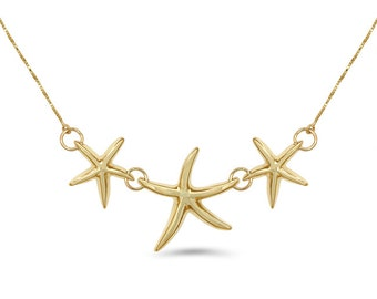 14k Gold Starfish Necklace, Gold Starfish Necklace, Nautical Necklace, Starfish Necklace, Nautical, Starfish