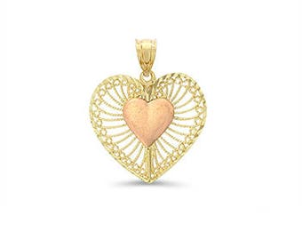 14k solid gold two tone heart pendant. Heart jewelry.