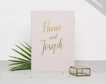 Wedding Guestbook Cream Photobooth with Gold Lettering Guest book Personalised Wedding book - by Liumy