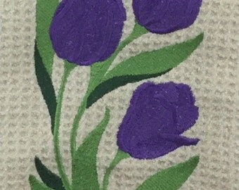 Large Purple Tulips Microfiber Hand Towel - Cream
