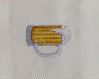 Beer Mug Embroidered Bamboo Hand Towel - White