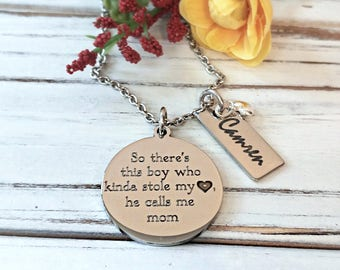 Mother Son Engraved Personalized Mom Necklace-Mother's Day, So There's This Boy