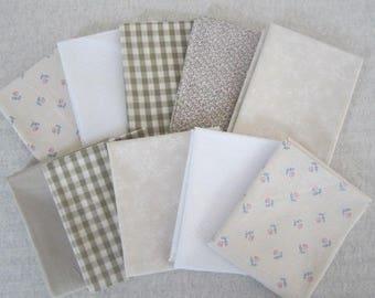 10 Fat Quarter Bundle Pack Vintage Fabrics Beige Cream Fat Quarter Bundle Beige Cream Colors Fabrics