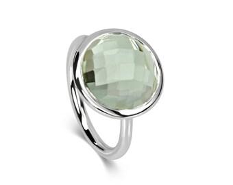Halo Ring - Round Green Quartz & Sterling Silver