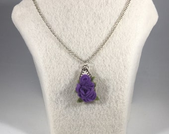 Purple Floral Hand-Stitched Felt Pendant