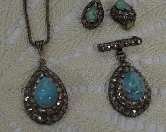 Hematite and Faux Turquoise Vintage Demi Parure Set