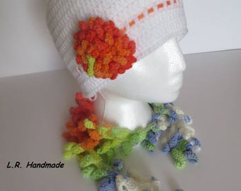 Crochet Women's Hat and Scarf, gift Ideas For Her, Winter Accessories, White hat, Multi-Color scarf, Winter Set, Christmas gift