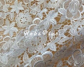 White lace fabric - White Floral Lace- Premium floral lace - White Floral Lace Fabric -White Lace Fabric - White Floral Lace Fabric -L269