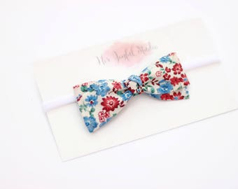 Patriotic Floral Bow - Patriotic Headbands - Flower Bows - Baby Headband - Newborn Headband - Toddler Bows - Toddler Girl Bows