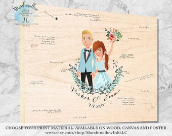Wedding Portrait Guest Book Wedding Guest Book Alternative, Wedding Signs Guest Book Sign, Wedding Gift Ideas Wood Guestbook Gift for Bride