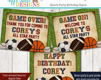 All Star Sports Party Signs - Welcome - Happy Birthday  - Thank You sign - Sports Birthday Party- Football - Soccer -Basketball - Baseball