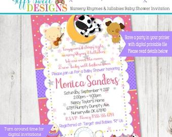 Girls  Nursery Rhymes Baby Shower Invitation  - Lullabies Baby Shower Invitation
