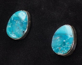 New! Navajo Jewelry Sterling Silver Turquoise Stone Stud Earrings by Juan Guerro Native American Art