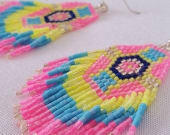 Seed bead earrings - Pretty Pink tribal beaded  fringe earrings - pink, yellow and turquoise