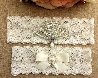 Wedding Lace Garter Set - Rhinestone Garter - Bridal Garter - Pearl Garter - Toss Garter - Wedding Garter Belt - Keepsake Garter