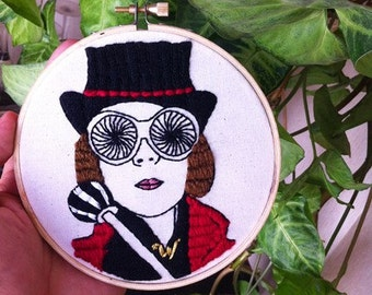 Willy Wonka wall decor/ Charlie and the chocolate factory embroidery hoop art/ Johnny Depp fan stitching