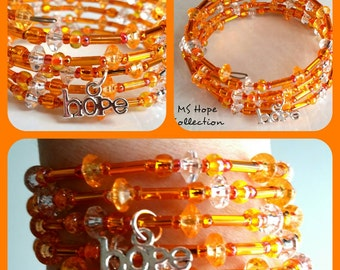 Memory Wire, Multiple Sclerosis, Charity, MS Hope Collection, Memory Wire Bracelet, Orange Memory Wire Bracelet with Hope Charm (OneOfAKind)
