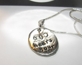 God hears your heart, hand stamped jewelry, stamped pewter charms, personalized jewelry, mommy necklace, hand stamped,  personalized jewelry