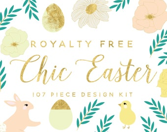 floral clipart-Easter clipart-Easter egg clipart-bunny clipart-chick clipart-royalty free-scrapbooking-PNG-digital download-pastel clipart