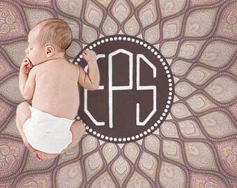 Personalized Baby Monogram Blanket Baby Name Monogrammed Blanket Baby Swaddle Boy Girl