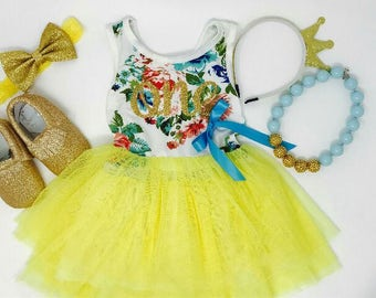 Yellow First Birthday Outfit | Floral Dress First Birthday Outfit | First Birthday Dress | Summer 1st Birthday | Sunshine Birthday Dress