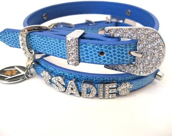 Crystal Dog Collar | Blue Dog Collar | Bling Dog Collar | Add Your Pet's Name Free! |  S M or L