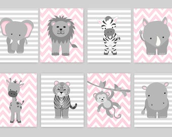 Zoo Nursery Decor, Baby Room Zoo, Zoo Animal Art, Jungle Nursery, Safari Nursery, Giraffe, Elephant, Zebra, Lion, Tiger, Hippo, Monkey Rhino