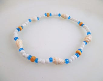 Sea Shell and Seed Bead Stretch Anklet
