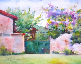 Original Watercolor Painting Fiorello Garden Landscape France French Farmhouse Gate