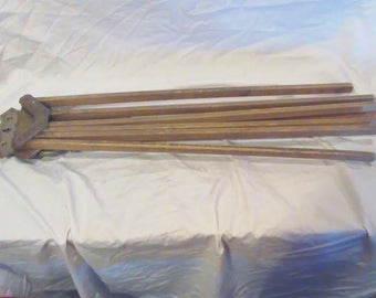 Antique Wooden Wall Mounted Clothes Drying Rack, 6 Arms