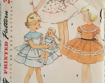 Vintage Dress and Matching Doll Dress Sewing Pattern Simplicity 4914 Size 5 Circa 50s Cut