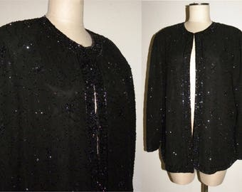 1980s 80 BLACK BEADED Evening Jacket /  Luxe  Duster / Evening Glam / Vintage size 1X / fits smaller - L/XL