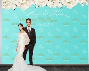 Wedding Photo Backdrop, Printed Wedding Party Backdrop, Personalized Wedding Backdrop, Custom Photo Booth Backdrop, Step and Repeat Backdrop