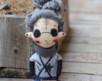 Boy with dreadlocks - Pixie elf doll - Woodland  boy - Elf doll - Handmade doll - Textile toy - Exrime primitive - Embroidered face.