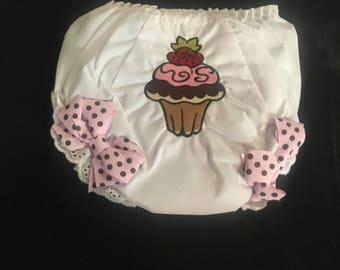 Embroidered Cupcake Girl Bloomers with bows