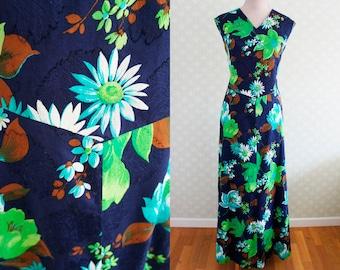 XL Vintage MAXI DRESS. Navy and mint green vintage Maxi Dress.