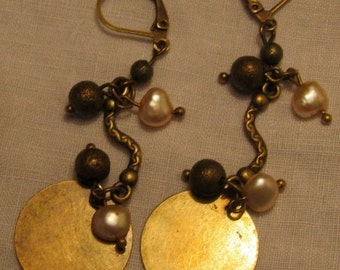 Bronze colour freshwater pearl and disc earrings with safety clips