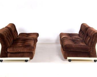 """Sofa group """"Amanta"""", Mario Bellini, C & B, 60s, vintage, Italia, brown, white"""