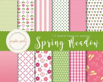 Spring Flowers Meadow Digital Paper for Scrapbooking