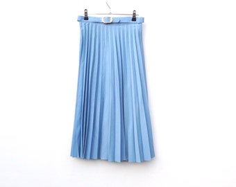"Sky Blue Accordion Pleated Skirt / 24"" Waist / UK 6 8"