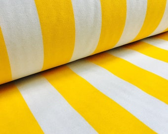 YELLOW White Striped Fabric - Sofia Stripes Curtain Upholstery Material - 280cm extra wide