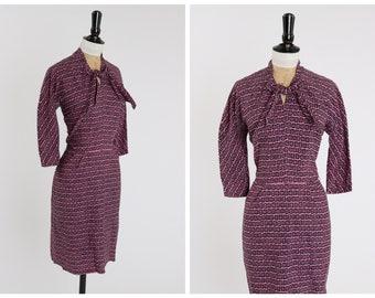 Vintage original 1950s 50s pink and black novelty square print wiggle dress by Horrockses UK 8 US 4 S