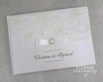 "Wedding Guest book, Hardcover - ""Christina"""